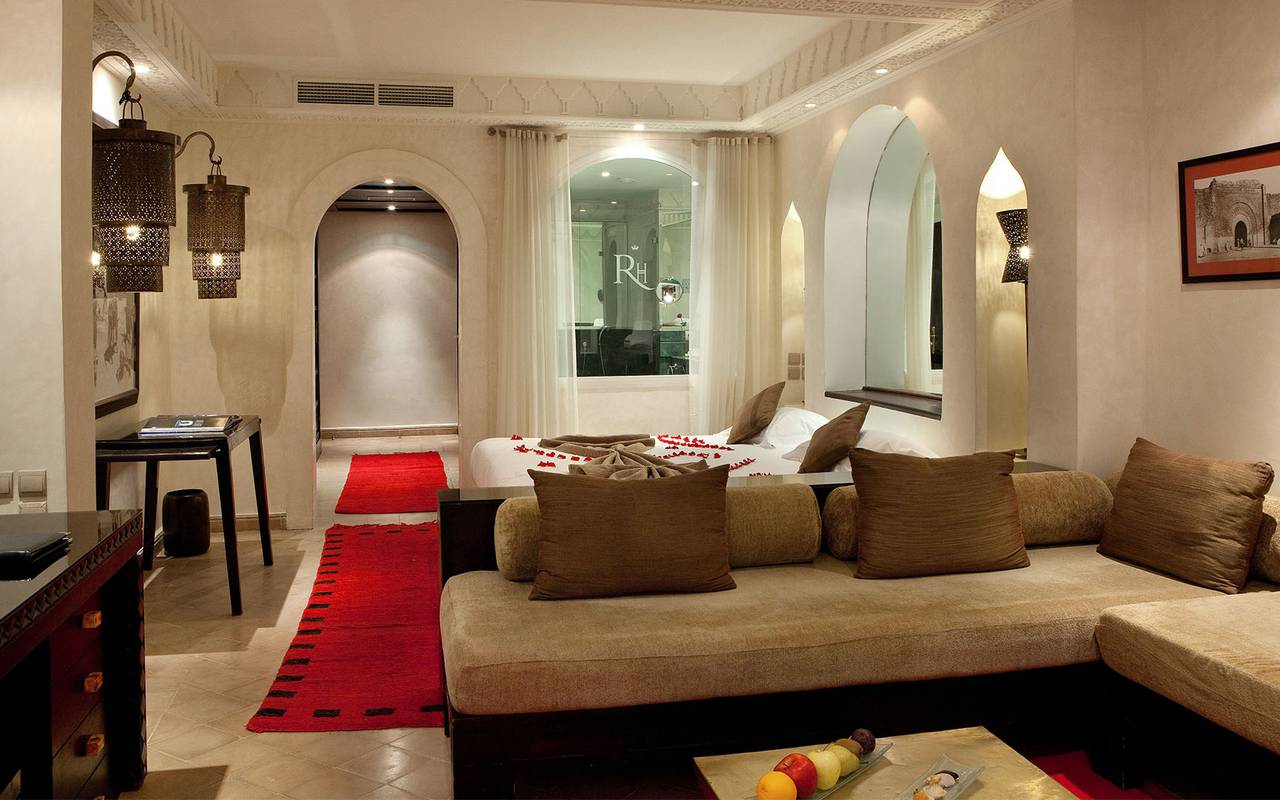 luxurious white suite red carpet Koutoubia Marrakech