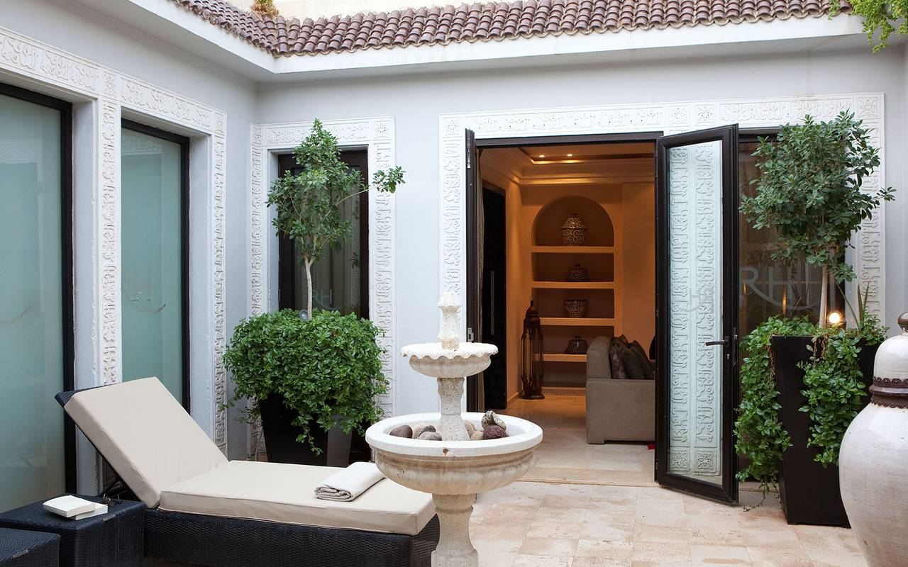 luxurious white moroccan patio