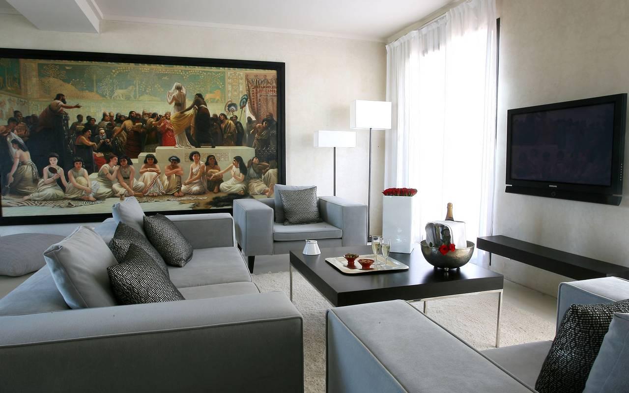 luxueuse chambre blanche Koutoubia Marrakech